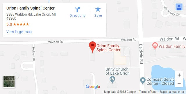 Lake Orion MI Chiropractic Map